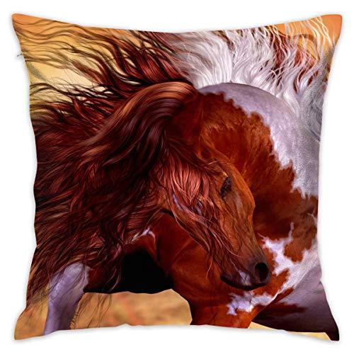 FPDecor Funda de Almohada, Throw Pillow Covers Wild Paint Horse Decorative Cushion Case for Sofa Bedroom...