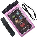 Beiuns Universal impermeable funda y brazalete para Samsung Galaxy K Zoom, S5 Mini, S5 Neo, S5, S4 Active i9295, S4, S3 Neo, S3,etc(5,7 pulgadas y por debajo)-02504 rosado