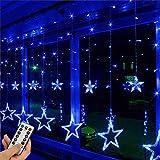 EONHUAYU Luci della Tenda della Stella, 12 Stelle 138 LED Window Fairy String Lights con 8 Modalità USB Remote per Decorazioni Natalizie (Blu)