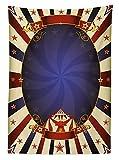 Yeuss Vintage Outdoor Tischdecke, Thema Zirkus Retro Zelt Carnival Band Zahlen Poster wie Bild, dekorative waschbar Picn