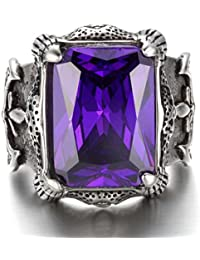K Mega Jewelry Vintage Stainless Steel Gothic Biker Men's Ring , Color Silver Black, Purple Crystal, With Gift Bag