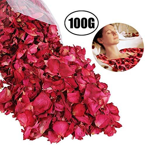 Lvcky lvcky100g naturale petali di rosa essiccati fiori veri dry rosso rose petalo per pediluvio corpo bagno spa wedding confetti home fragrance diy crafts accessori