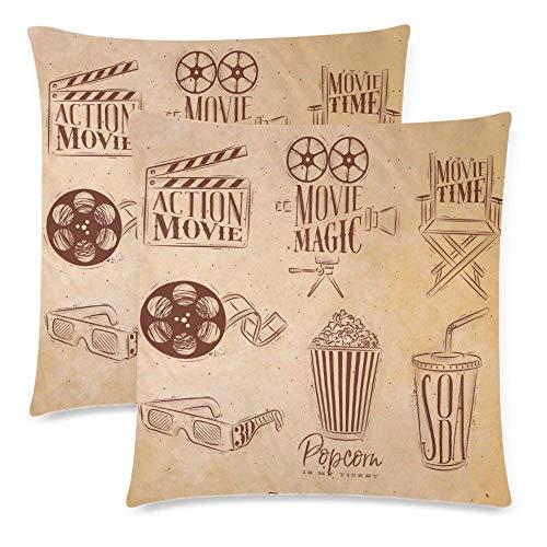 Liuzhis 2 Stück Kinoschild mit Klapperbrett und Popcorn-Kissenbezug 45,7 x 45,7 cm, doppelseitig, Filmkamera-Stuhl mit Kinofilm und 3D-Brille, Reißverschluss