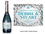 PERSONALISED Champagne label silver baroque effect - Birthday, Wedding, Engagement, Anniversary, Hen night any occasion gift (Silver / Blue type)