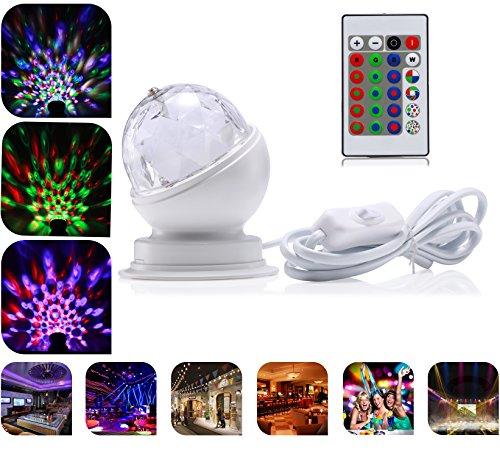 RGB LED Bühnenbeleuchtung, AVAWAY® High Power LED Bühnenlampe Stimmungslichter Mini Magic Kristallkugel Stadiums Effekt Strahler Stagelampe für Disco Party DJ Pub - 360° Drehbar (Mit Fernbedienung, Weiß - 2)
