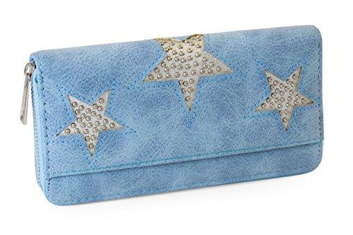 FashionCHIMP Vintage Geldbörse mit Nieten Stern Cut-Outs und Reißverschluss, Portemonnaie für Damen (Jeansblau)