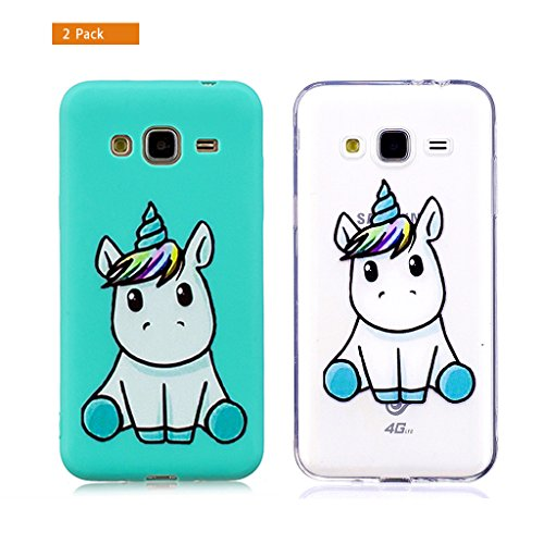 E-Flamingo [2 Pack] Universecase Custodia Compatibile con Samsung Galaxy J3 2016 Blu Chiaro Unicorno Silicone Soft TPU Case Cover Anti-Graffio Bumper Protettiva Caso