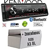 Audi A3 8L - Autoradio Radio Kenwood KMM-BT204 - Bluetooth | MP3 | USB | iPhone - Android - Einbauzubehör - Einbauset