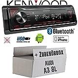 Audi A3 8L - Autoradio Radio Kenwood KMM-BT204 - Bluetooth | MP3 | USB | iPhone - Android - Einbauzubehör - Einbauset