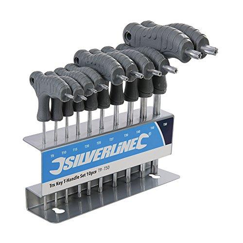 Silverline 328015 Trx-Stiftschlüssel mit Quergriffen, 10-Teilig, 1 V, Mehrfarbig, T9-T50