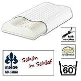 Irisette Nackenstützkissen Heidelberg aus Latex mit Konturenschnitt (mit Trikothülle) und mit integrierter herausnehmbaren Einlage aus Kaltschaum zur individuellen Höhenanpassung , Farbe: Weiß