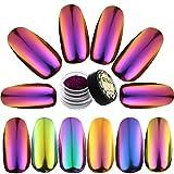 Kuka Chamäleon-Effektpigmentpuder für Nageldesign, 6 Farben, changierend, spiegelglänzend, Chromeffekt, Glitzerpuder, Maniküre