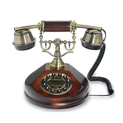 Traditionelles Bauernhaus (MMM- Retro / Antik / Bauernhaus Stil / Massivholz Telefon / Tastenwahl / Metall-Handy, elektronische Klingeltöne Kabelgebundenes Telefon aus Messing und Massivholz (Größe: 17,5 * 21,5 cm) Festnetz-Telefon ( Farbe : A ))