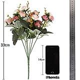 Luyue, Künstliche Seiden-Blumen-Sträuße mit 7Stielen und 21 Rosen, 2Stück Pink coffee - 2