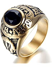Bishilin Anillos Hombre Rock Oval Anillos Oval Anillos de Hombre Gothic Anillos Oro Anillos 23x20MM