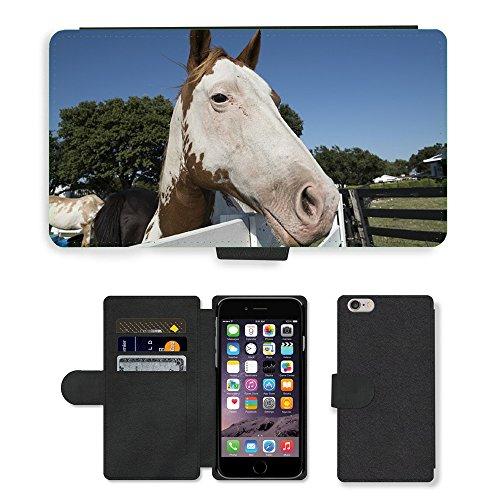 Just Mobile pour Hot Style Téléphone portable étui portefeuille en cuir PU avec fente pour carte//m00139575Horse Corral Clôture Ranch animaux//Apple iPhone 6Plus 14cm