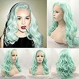 Pastel cheveux doux vague mode menthe vert résistant à la chaleur synthétique avant de lacet perruques pour les femmes sexy lindsay lohan s perruque verte coiffure chaude: Transparent