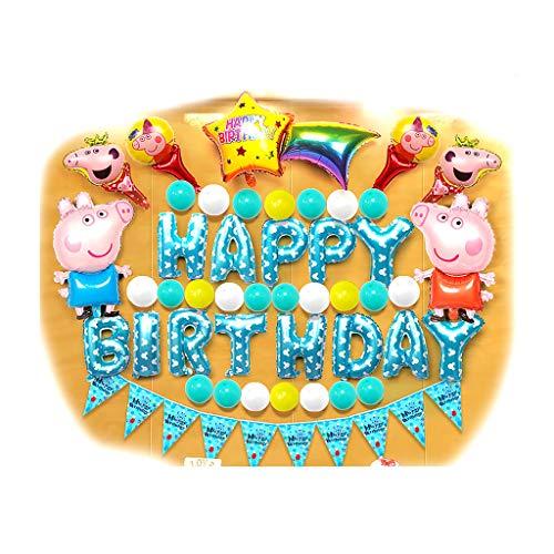 Juego de decoraciones de feliz cumpleaños de decoraciones de juguete, globos de fiesta de papel de aluminio, gato rosado de KT, Blue Pig George, Doraemon azul, conjunto de decoración de globo de mono