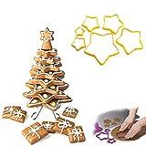 3D Arbre de Noël en Pain d'épice Biscuits Fraises Emporte étoile Cookie Biscuit Coupe Outils de Cuisson pour créer Votre Propre Arbre, Ensemble de 1