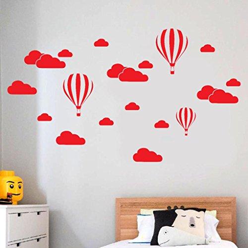 (Baby Zimmer Wandaufkleber,OHQ DIY Große Wolken Ballon Wandtattoos Kinderzimmer Dekoration Kunst (Rot))