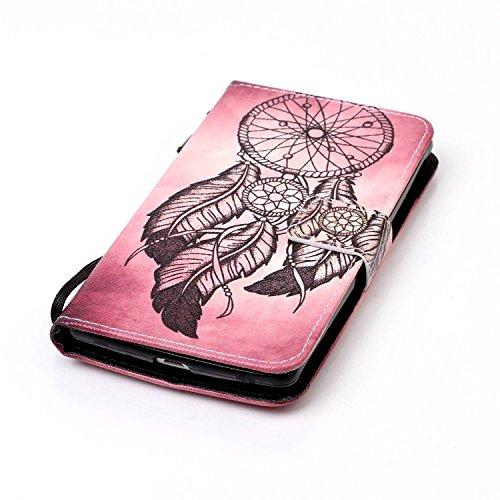 Feeltech LG LS770/LG G4 Stylus Hülle,LG LS770/LG G4 Stylus Magnet Leder Wallet Cover,Elegant Soft PU Kartenfach Extra Dünn Tasche Bunte Relife-Muster [Stand Funktion] Karte Halterung Klapp hülle Flip  Schwarzer Traumfänger