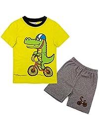 BackBuy chicos Verano 2 Pieza Manga corta Conjunto de pijama Camisa y pantalones cortos