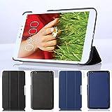 Für LG G Pad 8.3 V500 Case, HZSSEC Ultra Slim PU Leder Folio Case Hülle Standfunktion Tasche Schutzhülle Etui für LG G Pad 8.3 Zoll V500, Schwarz