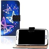 tinxi® Kunstleder Tasche für Samsung Galaxy S4 i9500 Tasche Flipcase Schutzhülle Standfunktion mit Karten Slot Schmetterling