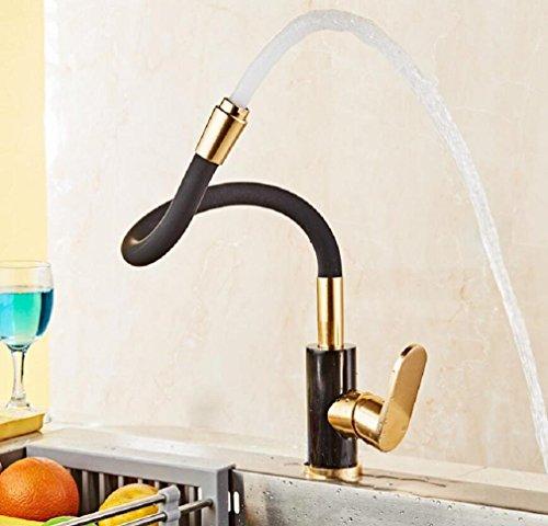 AMZH Küche zu leeren Aluminium Wasserhahn rotierenden schwarzen Gold Wasserhahn Gemüse Waschbecken Wasserhähne
