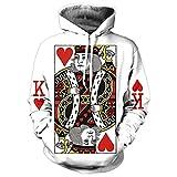 Gli uomini Hoodie 3D Stampa Grafica giocando a Poker Re felpe Hip Hop stile tuta con cappuccio Pullover re Poker M di stampa
