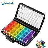 Anpole Portapillole Settimanale, Pillole Box Organizzatore Pillole 7 Giorni 28 Promemoria Portafoglio di Pillole Dispenser Pillole Stoccaggio Organizer da Viaggio per Pillole