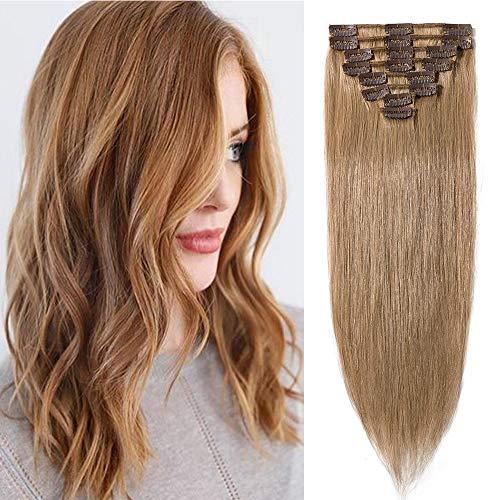 20cm extension clip capelli veri 8 fasce 18 clips 100% remy human hair testa intera lisci corti, 27 biondo scuro
