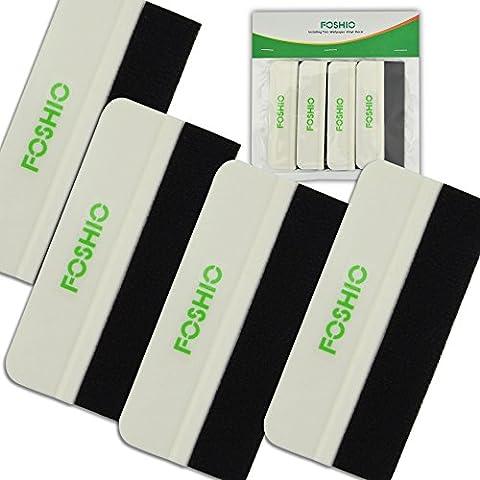 FOSHIO 4 pouces mini blanc plastique Squeegee carte avec tissu bord en feutre Auto Wrap Tint vinyle outil avec le paquet en gros, voiture Sticker Application Outils, Pack de 4