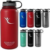 Botella térmica ACTIVE FLASK con 3 tapones para oficina, bicicleta, gimnasio | Termo práctico, resistente, seguro | Cantimplora de acero inoxidable para café, té, bebida caliente | fría - 950 ml