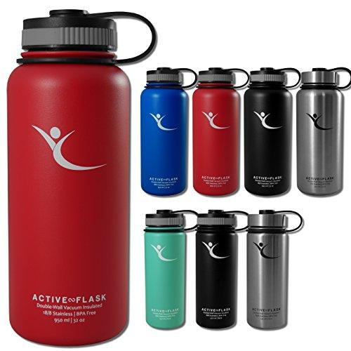Trinkflasche ACTIVE FLASK von BeMaxx Fitness + 3 Trinkverschlüsse Vakuum-isolierte Edelstahl Thermosflasche | BPA frei | Wasserflasche für Büro, Sport, Fahrrad, Outdoor Kaffee & Tee Wild Red 950ml