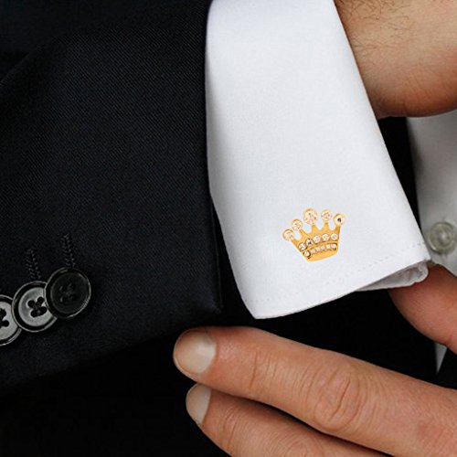 Tripin Silver Crown Shape Brass Cufflinks with Diamond CrystalsFor Men in A Gift Box|657|