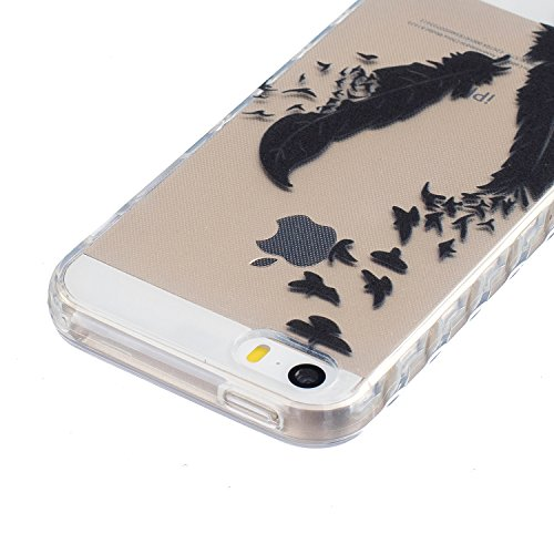 Meet de Housse pour Apple iphone 5S /iphone SE Soft TPU Doux Silicone Bumper Case Coque - Campanula plume Plumes Swallows