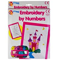 Embroidery by Numbers Cross Stitch Sewing Art Set Childrens Kids Craft Kit (Castle)