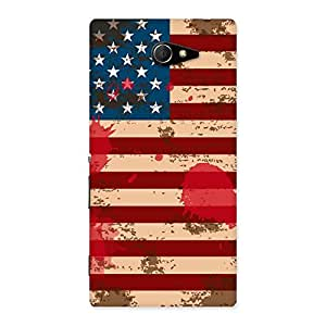 Stylish Grunge USA Flag Multicolor Back Case Cover for Sony Xperia M2
