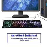 Bewinner Gaming Keyboard UK, USB Wired Gaming Keyboard V8 Retro Punk 3-Color Rainbow LED Backlight Keyboard for Laptop, PC Mechanical Gaming Keyboard for Win10/7/8/2000/XP (64-bit)(Rainbow)