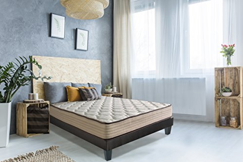 OLYMPE Ensemble Matelas lit Hesiode 140x190 + Sommier + Pieds