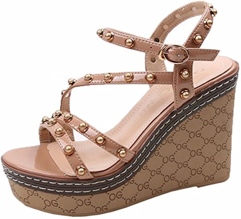 c4fce8e541ccc GTVERNH Women's shoes/Summer/Slope 8478 Buckles Heels Sandals Ladies ...