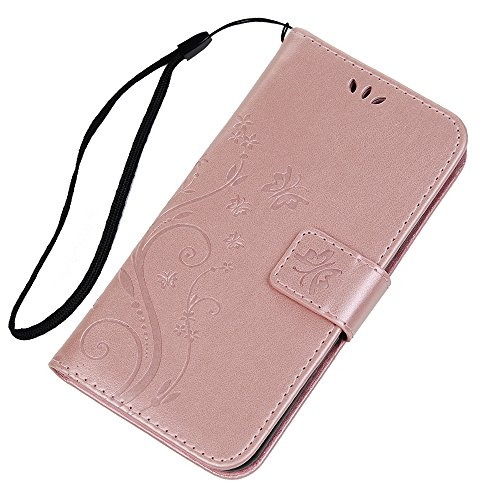 MAXFE.CO Lederhülle Case Schutz für iPhone X PU Leder + TPU Innere Etui Schale Backcover Brieftasche Prägung Muster Flip Cover mit Kartenfächer Magnetverschluß Standfunktion Lila Rose Gold