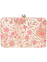 Fabric And Lace Party Wear Hand Crafted Designer Box Clutch Adorned With Thread And Zari Embroidery On Jacquard...