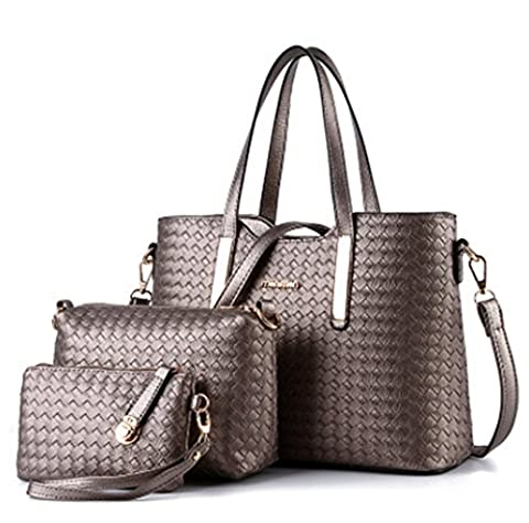 YAAGLE Fashion PU Woven Grid Totes Shoulder Bag With Handbag Purse 3pcs for Women Girls