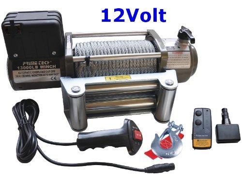 Prime Tech Elektrische Seilwinde 13000 lb / 5900 kg, 12Volt, Modell WF13 mit weiterenwickeltem Getriebe / 12V