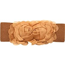 Amazon.es  Meta-U – Cinturón ancho elástico con flores para mujer ... a79950b43c