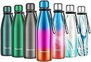 Newdora Botella de Agua Acero Inoxidable 500ml, Aislamiento de Vacío de Doble Pared, Botellas de Frío/Caliente