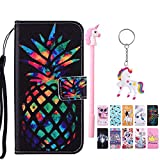 E-Mandala Apple iPhone 5 5S SE Hülle Leder Ananas Flip Case Wallet Cover Tasche handyhüllen Schutzhülle Lederhülle mit kartenfach klapphülle Handytasche