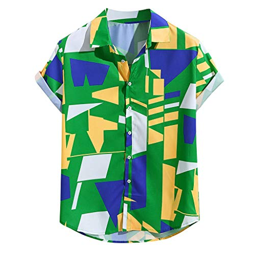 sunnymi  Herren Top, Mens Kontrastfarbe Geometrisch Bedruckt Umlegekragen Kurzarm Lose Shirts (Verkauf Polizei-hut Für)
